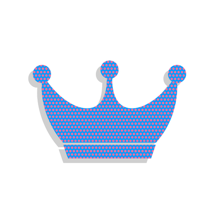 King crown sign. Vector. Neon blue icon with cyclamen polka dots