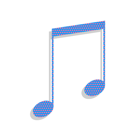 Music sign illustration. Vector. Neon blue icon with cyclamen po
