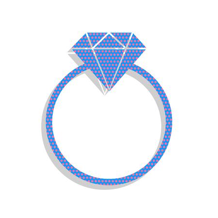 Diamond sign illustration. Vector. Neon blue icon with cyclamen