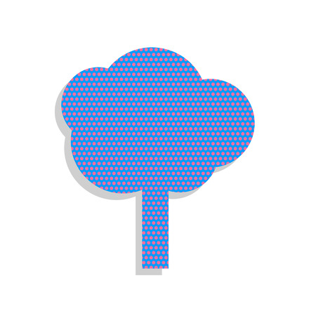 Tree sign illustration. Vector. Neon blue icon with cyclamen pol
