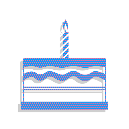 Birthday cake sign. Vector. Neon blue icon with cyclamen polka d Illustration