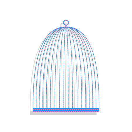 Bird cage sign. Vector. Neon blue icon with cyclamen polka dots
