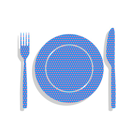 Fork, Knife and Plate sign. Vector. Neon blue icon with cyclamen Illustration