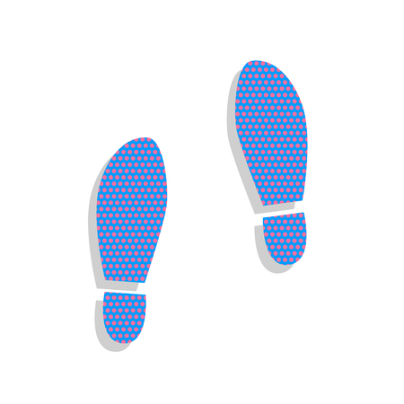 Imprint soles shoes sign. Vector. Neon blue icon with cyclamen p