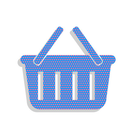 Shopping basket sign. Vector. Neon blue icon with cyclamen polka