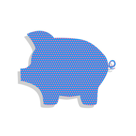 Pig money bank sign. Vector. Neon blue icon with cyclamen polka