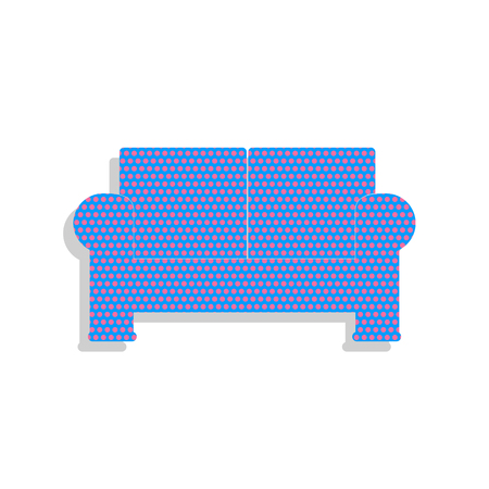 Sofa sign illustration. Vector. Neon blue icon with cyclamen pol