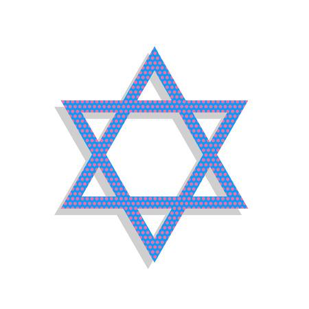 Shield Magen David Star. Symbol of Israel. Vector. Neon blue ico