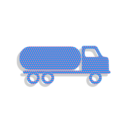 Car transports sign. Vector. Neon blue icon with cyclamen polka Ilustracja