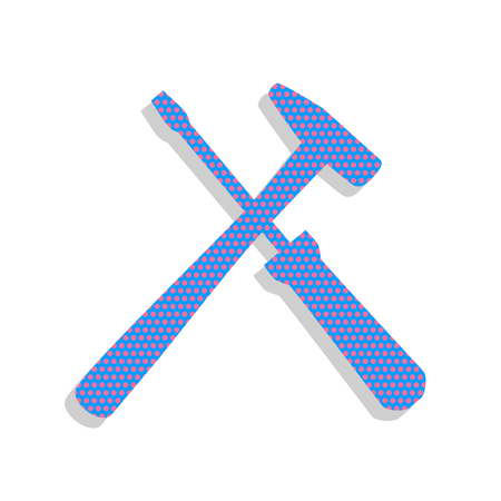 Tools sign illustration. Vector. Neon blue icon with cyclamen po Çizim