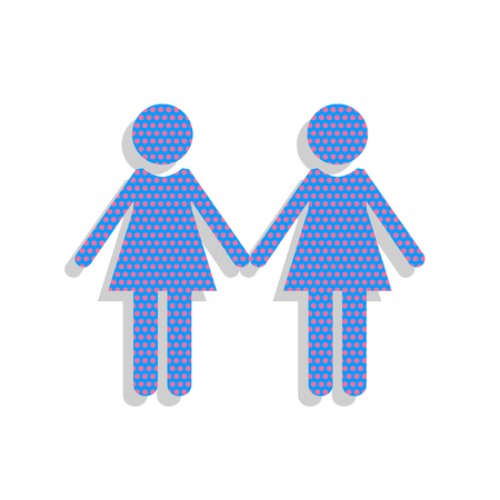 Lesbian family sign. Vector. Neon blue icon with cyclamen polka Illustration