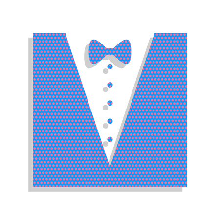 Tuxedo with bow silhouette. Vector. Neon blue icon with cyclamen