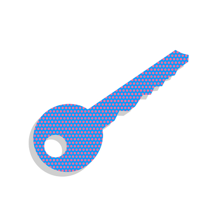 Key sign illustration. Vector. Neon blue icon with cyclamen polk