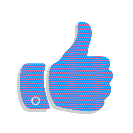 Hand sign illustration. Vector. Neon blue icon with cyclamen pol