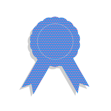 Label sign ribbons. Vector. Neon blue icon with cyclamen polka d
