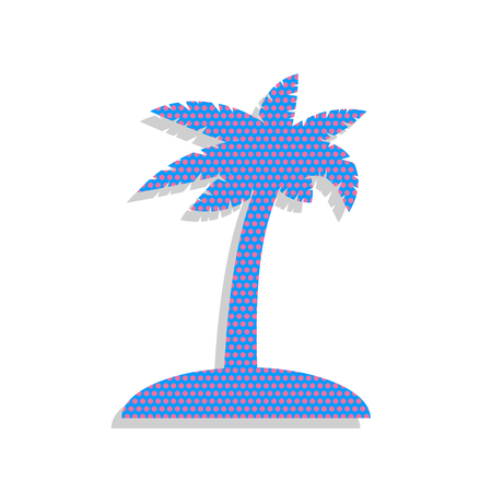 Coconut palm tree sign. Vector. Neon blue icon with cyclamen pol Ilustrace