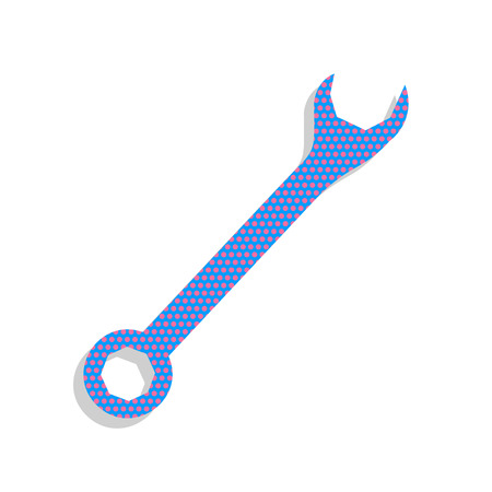 Crossed wrenches sign. Vector. Neon blue icon with cyclamen polk Illustration