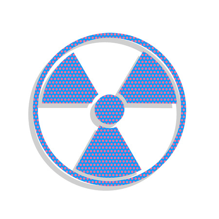 Radiation Round sign. Vector. Neon blue icon with cyclamen polka