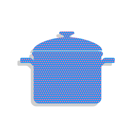 Cooking pan sign. Vector. Neon blue icon with cyclamen polka dot