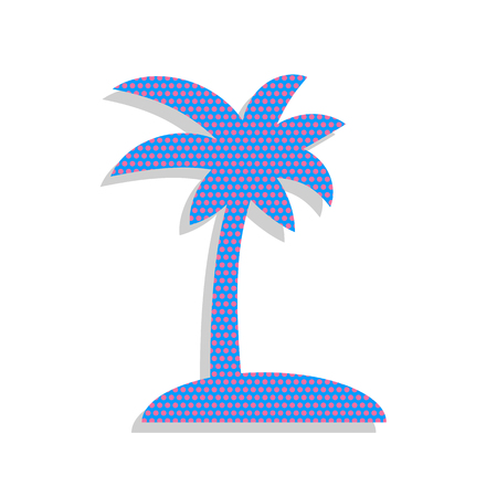 Coconut palm tree sign. Vector. Neon blue icon with cyclamen pol Illustration
