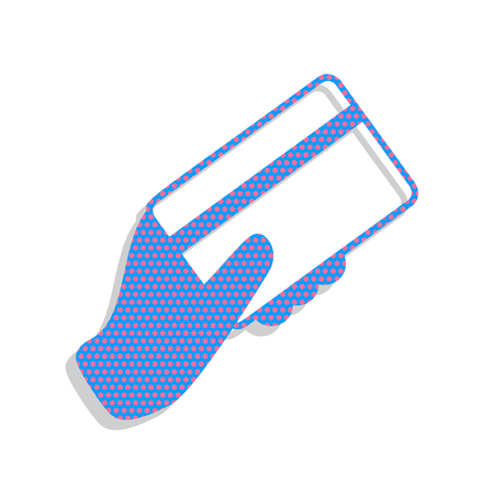 Hand holding a credit card. Vector. Neon blue icon with cyclamen Illustration