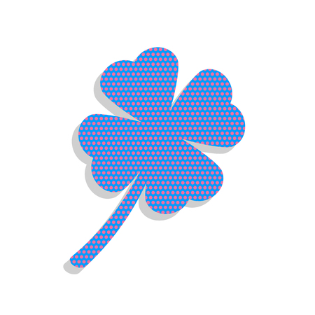 Leaf clover sign. Vector. Neon blue icon with cyclamen polka dots pattern with light gray shadow on white background. Isolated.