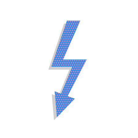 High voltage danger sign. Vector. Neon blue icon with cyclamen polka dots pattern with light gray shadow on white background. Isolated. Illustration