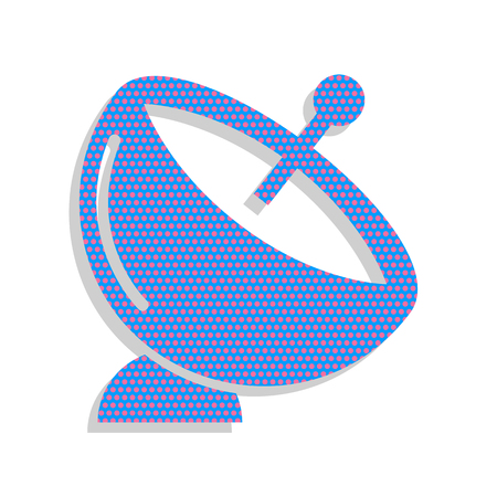 Satellite dish sign. Vector. Neon blue icon with cyclamen polka dots pattern with light gray shadow on white background. Isolated.