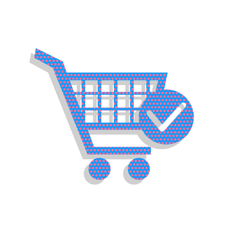 Shopping Cart with Check Mark sign. Vector. Neon blue icon with cyclamen polka dots pattern with light gray shadow on white background. Isolated.