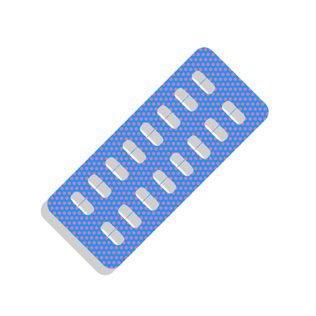 Medical Pills sign. Vector. Neon blue icon with cyclamen polka dots pattern with light gray shadow on white background. Isolated.