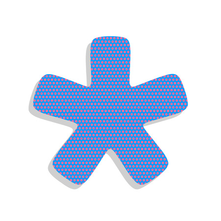Asterisk star sign. Vector. Neon blue icon with cyclamen polka dots pattern with light gray shadow on white background. Isolated.