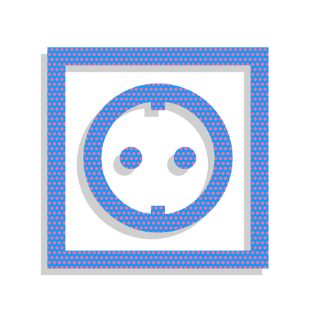 Electrical socket sign. Vector. Neon blue icon with cyclamen polka dots pattern with light gray shadow on white background. Isolated. Ilustracja