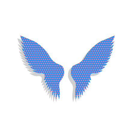 Wings sign illustration. Vector. Neon blue icon with cyclamen polka dots pattern with light gray shadow on white background. Isolated.