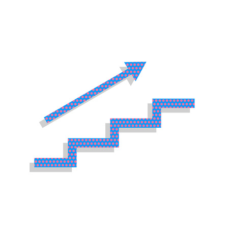 Stair with arrow. Vector. Neon blue icon with cyclamen polka dots pattern with light gray shadow on white background. Isolated. Illustration