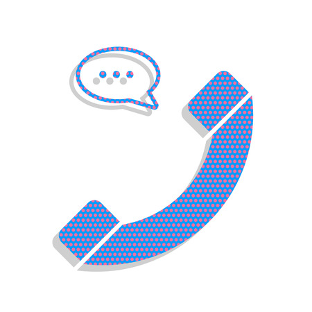 Phone with speech bubble sign. Vector. Neon blue icon with cyclamen polka dots pattern with light gray shadow on white background. Isolated.