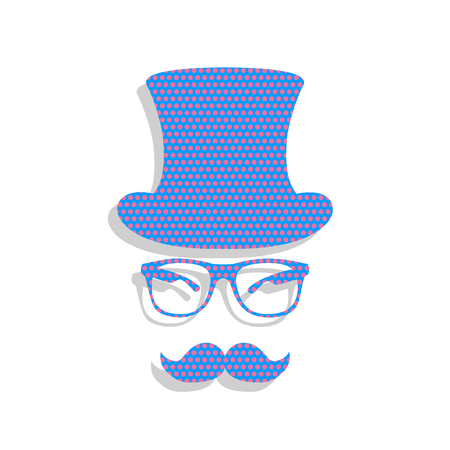 Hipster accessories design. Vector. Neon blue icon with cyclamen polka dots pattern with light gray shadow on white background. Isolated.