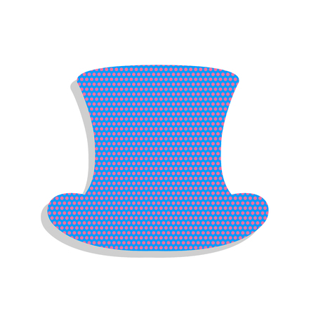 Top hat sign. Vector. Neon blue icon with cyclamen polka dots pattern with light gray shadow on white background. Isolated.