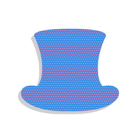 Zylinder Zeichen. Vektor. Blaue Neonikone mit Alpenveilchen-Tupfenmuster mit hellgrauem Schatten auf weißem Hintergrund. Isoliert.