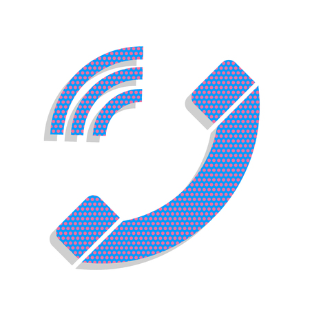 Phone sign illustration. Vector. Neon blue icon with cyclamen polka dots pattern with light gray shadow on white background. Isolated.
