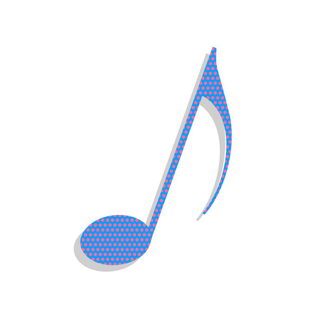 Music note sign. Vector. Neon blue icon with cyclamen polka dots