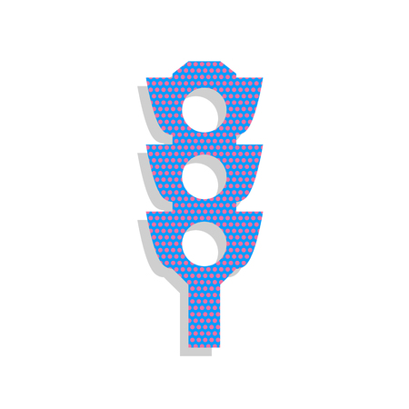 Traffic light sign. Vector. Neon blue icon with cyclamen polka d Illustration