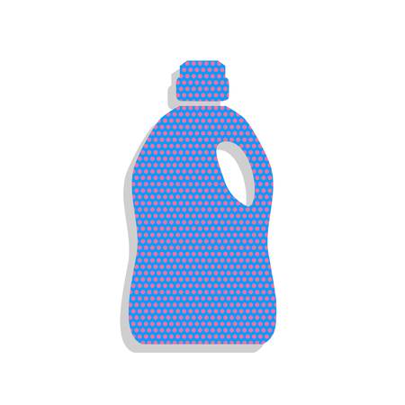 Plastic bottle for cleaning. Vector. Neon blue icon with cyclame