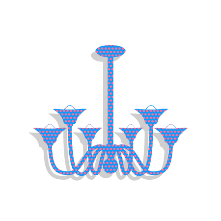 Chandelier simple sign. Vector. Neon blue icon with cyclamen pol Illustration