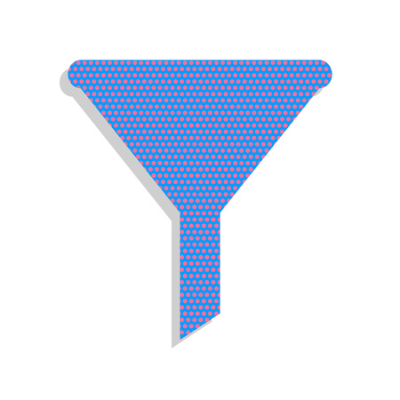 Filter simple sign. Vector. Neon blue icon with cyclamen polka d Ilustracja