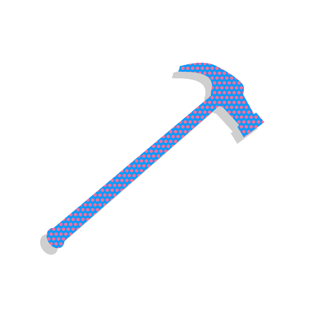 Hammer simple Icon. Vector. Neon blue icon with cyclamen polka dots pattern with light gray shadow on white background. Isolated. Ilustracja