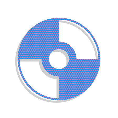 CD or DVD sign. Vector. Neon blue icon with cyclamen polka dots pattern with light gray shadow on white background. Isolated. Illustration