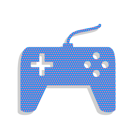 Joystick simple sign. Vector. Neon blue icon with cyclamen polka dots pattern with light gray shadow on white background. Isolated. Illustration