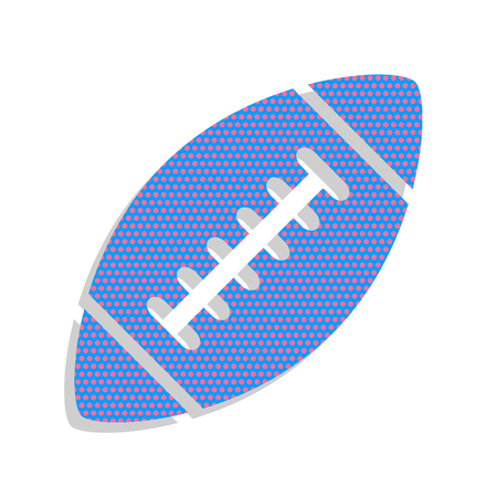 American simple football ball. Vector. Neon blue icon with cyclamen polka dots pattern with light gray shadow on white background. Isolated.