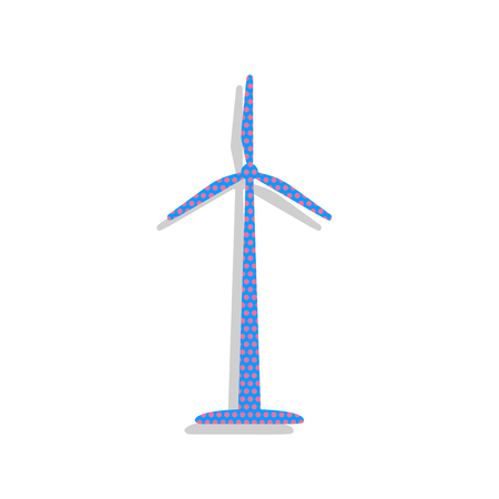 Wind turbine sign. Vector. Neon blue icon with cyclamen polka dots pattern with light gray shadow on white background. Isolated. Ilustracja