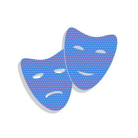 Theater icon with happy and sad masks. Vector. Neon blue icon with cyclamen polka dots pattern with light gray shadow on white background. Isolated.